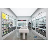Quality Cosmetics Store Interior Design In wall Display Cabinets with Glass shelves and Wood counters by LED light for sale