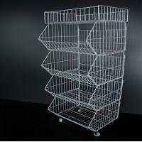 Quality Metallic Supermarket Display Corner Wire Storage Baskets / Metal Wire Baskets for sale