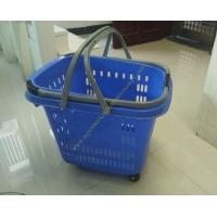 Quality 50L Supermarket Plastic Shopping Basket With Wheels , Long Bar Retractable Handle for sale