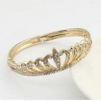 Quality Crown bangles with top crystal decoration women bracelet silver and gold color  TJ0049 for sale