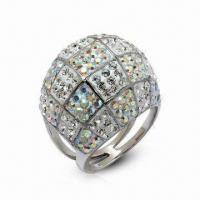 Quality Swarovski Jewelry, Sterling Silver Ring with Crystal Ring, in New Design for sale