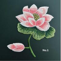 Quality Large Embroidered Flower Patches , Sew On Embroidered Appliques On Lace Fabric for sale