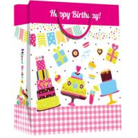 Quality Custom happy birthday printed paper material with handle gift bag for sale