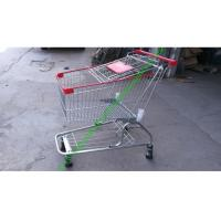 Quality Iron Wire Shopping Cart , Powder Coated Grocery Shopping Trolley With Elevator Wheels for sale