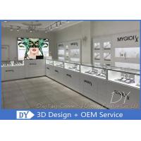 China Glossy Pure White Wooden Glass Store Jewelry Display Cases For Shopping Mall on sale
