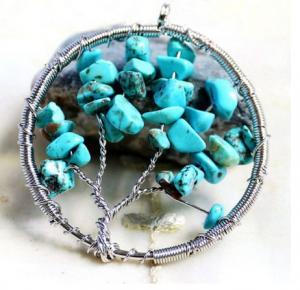 China Blue Gemstone Beaded Jewelry Tree Of Life Birthstone Pendant For Jewellery Beading Kit on sale
