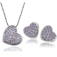 Quality Heart Crystal wedding jewelry sets 7 colors bridal necklace and earrings set TJ0128 for sale