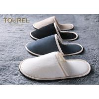 China 100% Cotton Embroidered Velvet Hotel Bathroom Slippers With Closed Toe SPA House Washable on sale