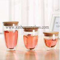 Double wall glass cup / coffee cup /glass cup with bamboo lid