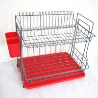 Buy cheap DHW11005 dish dry rack, rack in color , with red plastic holder, with plastic utesiol holder, and plastic tray from Wholesalers