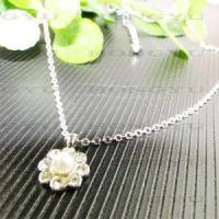 Quality Flower Sliver Necklaces with Pearl and Crystal for sale