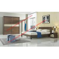 Quality Wood & Panel furniture in modern deisgn Walnut color by KD bed with Sliding door wardrobe for sale