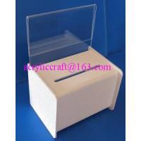 Quality Acrylic PMMA Donation Box Collection Box Suggestion Box With Sign Holder for sale