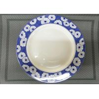 Quality Dia. 27cm White Porcelain Plates  Ceramic Round Plate Decorative Pattern Wide Rim for sale