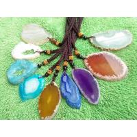 Buy cheap Colorful Slice Druzy Pendant With Gold Plating Natural Agate Stone Slices from Wholesalers