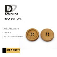 Quality 4 Holes Nature Wooden Buttons With Personalized Logo Raised Edge Light Weight Overcoat for sale