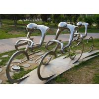 China Metal Abstract Cyclist Sculpture Stainless Steel For Garden Decoration on sale