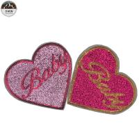 Quality Heart Custom Embroidered Logo Patches , Cute Handmade Embroidered Patches for sale
