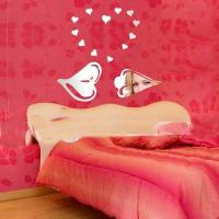 Quality Acrylic Heart Wall Mirror Sticker For Bedroom Decoration for sale