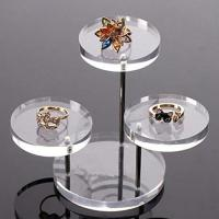China Clear Round Button Acrylic Jewelry Display Stands 3 Layer For Earring Necklace Ring on sale