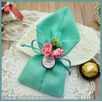 Quality jute candy bag jute chocolate package bag wedding favor for sale