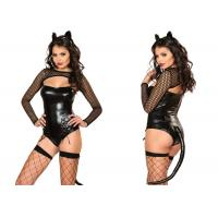 Quality Four Piece Black Female Halloween Costumes ,  Naughty Miss Kitty Sexy Halloween Costumes for sale