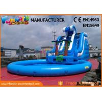Quality Waterslides Giant Blue Outdoor Inflatable Water Slides For Amusement Park for sale