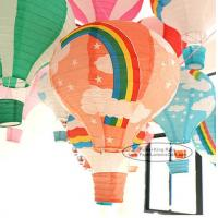 Quality 14 Inch 16 Inch Rainbow Hot Air Balloon Paper Lantern For Party Lamp for sale