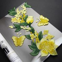 Quality Yellow Flower Sew On Embroidered Patches Lace Appliques For Clothing 14 X 32 CM for sale