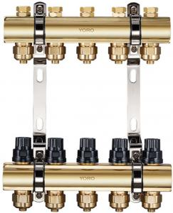 Quality 6100 Extruded Brass Water Distribution Manifolds With Concealed Supply Flowrate Regulator And Cover Cap For Each Branch for sale