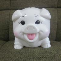 China Happy pig plastic piggy bank, rubber money box promotional toys  made in shenzhen on sale