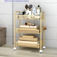Quality Golden Kitchen Basket Movable Cart Home Wire Shelving Mobile Simple Assembly for sale