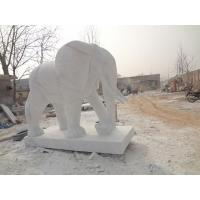 China Good quality gate decoration blessing granite white stone elephant sculpture on sale