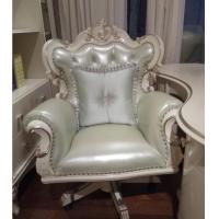 China White Frame Luxury Swivel Chairs Full Solid Wood With Green Leather Material on sale