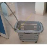 Quality Grey Flip Handles Grocery Basket With Wheels / Stores Small Shopping Trolleys On Wheels for sale