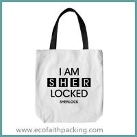 Quality cotton tote bag, white cotton tote bag with black logo printing for sale