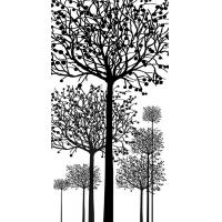 Waterproof Bamboo Fiber Wall Panels Decorative Interior Black White Tree