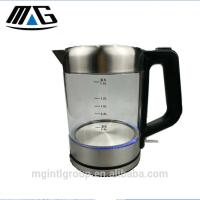 Quality 1.5L Blue LED lighting Clear Glass Electric Glass Tea Kettle Stainless Steel with One Touch Button for sale