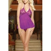 Quality Fashion sheer chiffon Purple sleepshirt Stretch Lace & Mesh Women's Thrill Me Babydoll for sale