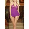 Buy cheap Fashion sheer chiffon Purple sleepshirt Stretch Lace & Mesh Women's Thrill Me from wholesalers