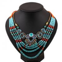 Quality 2015 African Fashion Beach Jewelry Blue Handmade Multi layers Bead Chain Women Necklace for sale