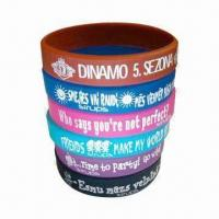 Quality Promotional Silicone Wristbands, Available with Embossed, Debossed or Printing Logo for sale