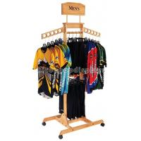 China T Shirt Wood Clothing Store Fixtures Retail Display Shelves With Casters on sale