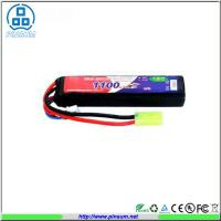Quality Rechargeable RC Airsoft LiPo Battery Packs 15C 7.4V 1100mAh Long Bar Battery Packs for Air for sale