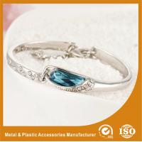 China Fashion Thin Metal Bangles Bracelets With A Blue Stone 18K Gold Jewelry on sale