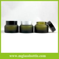 Quality High quality green glass container eye cream bottle makeup jars for sale