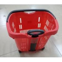 Buy Green Plastic Hand Shopping Rolling Basket / Durable Supermarket Basket Cart at wholesale prices