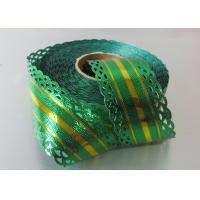 25 Yards Metallic with lace and gold line christmas gift ribbon OEM  ODM acceptable