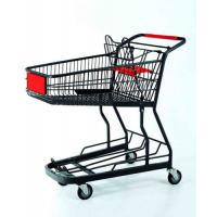 Quality Powder Coated Shopping Basket Trolley Metal Wire Grocery Cart With Casters for sale