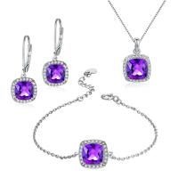 Quality Natural Amethyst Jewelry Set 925 Silver Gemstone Earrings Bracelet Pendant Necklace for sale